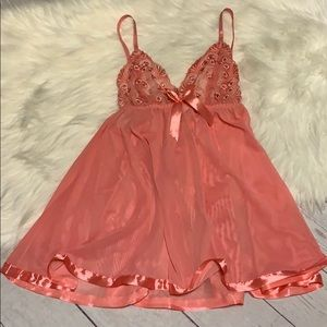 NWT Lingerie Pink Teddy Sparkle Sheer Coral Sequin